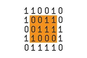 Binary code color icon