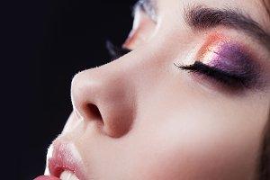 Close-up face, bright eye shadow