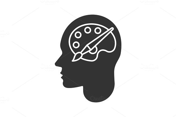 Human Head With Palette And Brush Glyph Icon