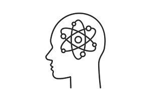 Human head with atom inside linear icon