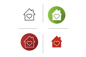 House with heart inside icon