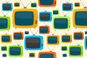Vector retro tv seamless pattern.