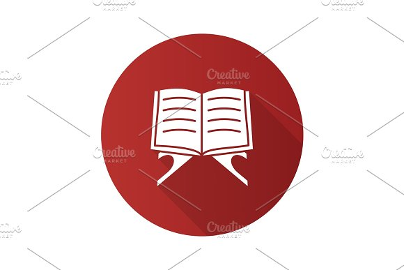 Open Quran Book Flat Design Long Shadow Glyph Icon