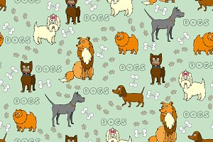 Pattern with hand drawn dogs