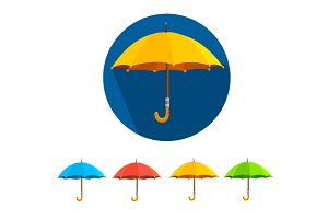 Vector colorful umbrellas set. Flat