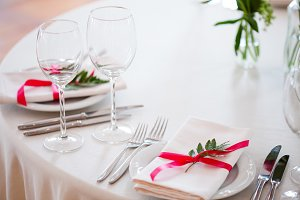 tableware, glasses and plates