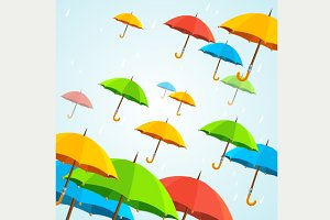 Vector colorful umbrellas fly. Flat