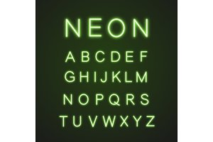 Green alphabet neon light icons set