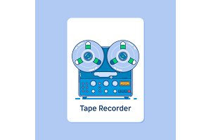 Reel tape recorder icon on blue background.Modern thin linear stroke vector icons.