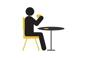 Man drinking coffee or tea at table silhouette icon