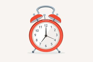 Vector wakeup clocks set. Flat