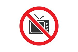 Forbidden sign with TV-set glyph icon