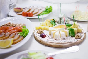 Appetizers. Various types of cheese,