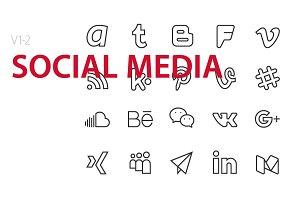 40 Social media UI icons