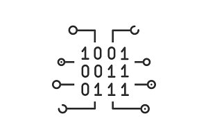 Binary code linear icon