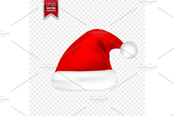 christmas santa claus hats with shadow set new year red hat isolated on transparent background vector illustration