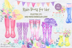 Watercolor Rain Boots for her