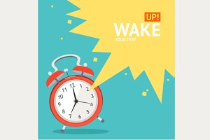 Vector  wakeup clock card set. Flat