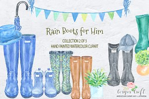 Watercolor Rain Boots for Him