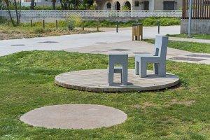 Stone chairs.