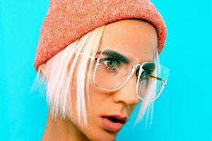 Blonde Model in stylish accessories