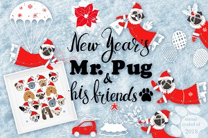 New Year's Mr.Pug and his friends.