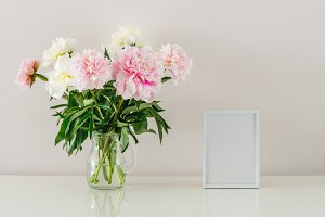 Peonies and white frame