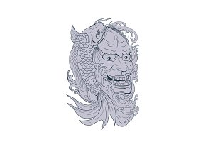 Hannya Mask and Koi Fish Drawing