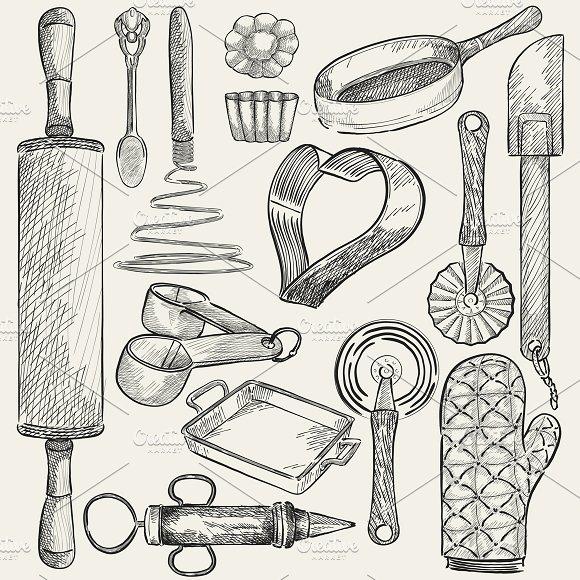 Illustration of kitchen tools