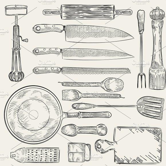 Illustration of kitchen utensils