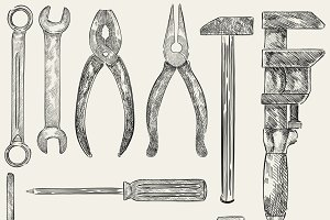 Illustration of mechanic tools