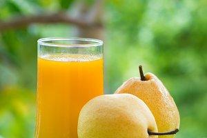 Fresh yellow pear tropic fruit summer refreshment smoothie shake