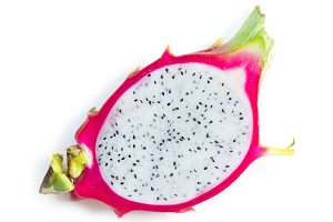 Asian dragon fruit Pitaya on white
