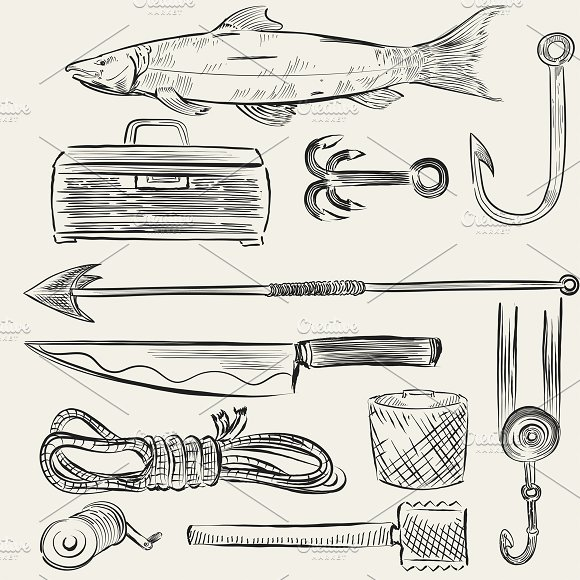 Illustrated set of fishing equipment
