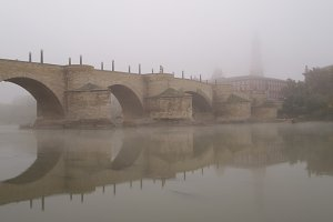 stone bridge zaragoza Spain