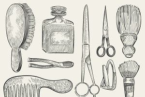 Illustration of a set of beauty tool