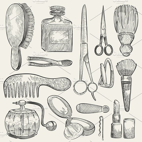 Illustration of a set of beauty tool in Illustrations