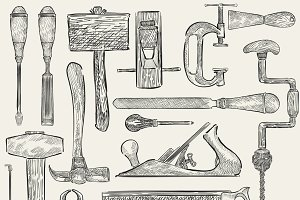 Illustration of carpenter tools