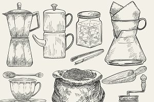 Illustrated of coffee making tools