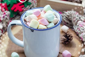 Christmas gift card with lettering. Hot chocolate topped and marshmallow
