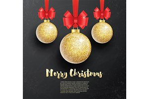 Christmas Greeting Card with Golden