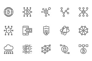 Blockchain Technology Line Icons