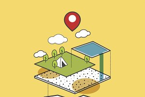 Travel Map Icon Vector Illustration