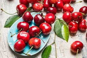 Lots of red cherries , top view