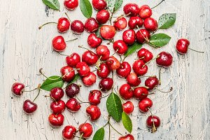 Scattered cherry berries