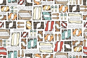 Pattern with hand drawn shoes