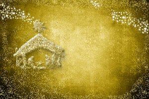 Gold Christmas nativity scene