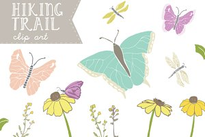 Hiking Trail - Butterfly Clip Art