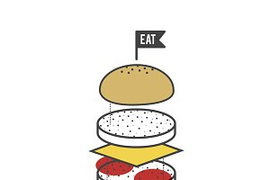 American Food Burger Icon