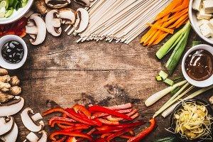 Asian food background, frame